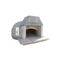 Forno a legna gas rivestito in mattoni con porta in acciaio inox term